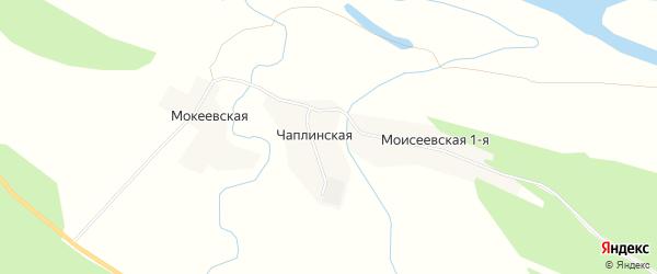 Карта Чаплинской деревни в Архангельской области с улицами и номерами домов