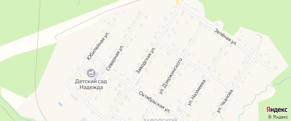 Заводская улица на карте поселка Киземы с номерами домов