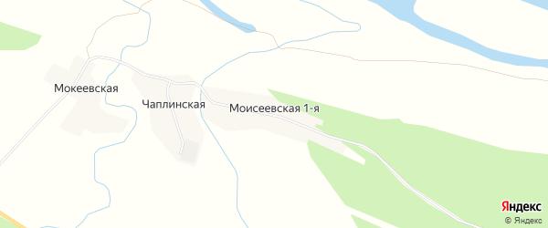 Карта Моисеевская 1-я деревни в Архангельской области с улицами и номерами домов