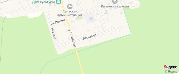 Лесная улица на карте поселка Киземы с номерами домов