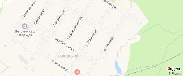 Улица Назмеева на карте поселка Киземы с номерами домов