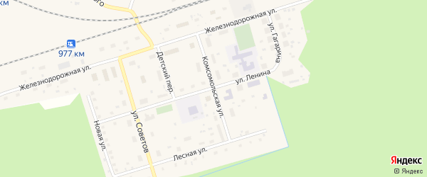 Комсомольская улица на карте поселка Киземы с номерами домов