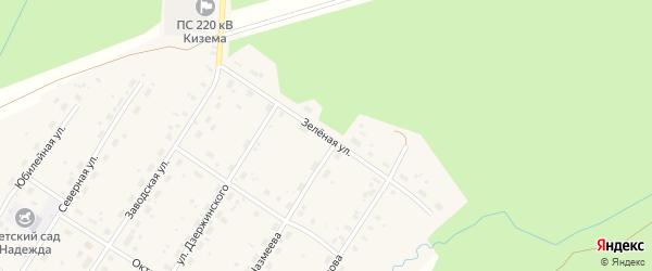Зеленая улица на карте поселка Киземы с номерами домов