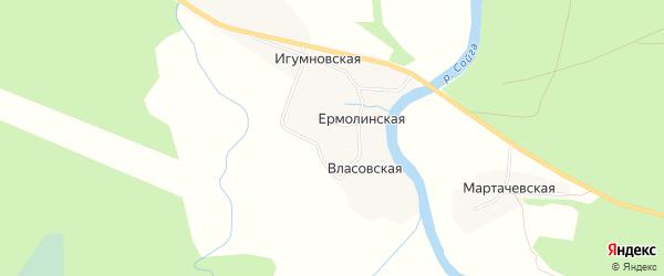 Карта Игумновской деревни в Архангельской области с улицами и номерами домов
