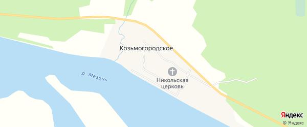 Карта деревни Козьмогородского в Архангельской области с улицами и номерами домов