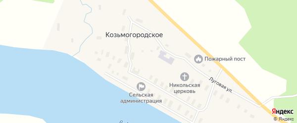 Набережная улица на карте деревни Козьмогородского с номерами домов