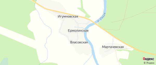 Карта Ермолинской деревни в Архангельской области с улицами и номерами домов