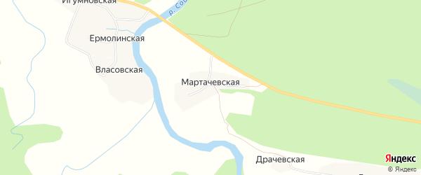 Карта Мартачевской деревни в Архангельской области с улицами и номерами домов