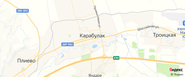 Карта Карабулака с районами, улицами и номерами домов