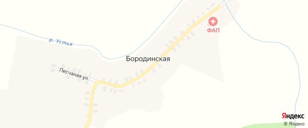 Октябрьская улица на карте Бородинской деревни с номерами домов