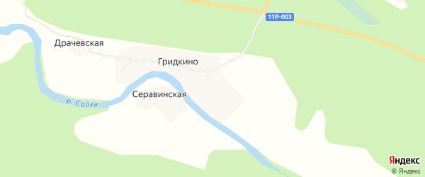 Карта деревни Гридкино в Архангельской области с улицами и номерами домов