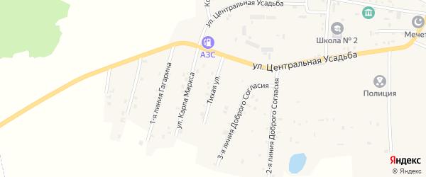 Тихая улица на карте Гвардейского села с номерами домов
