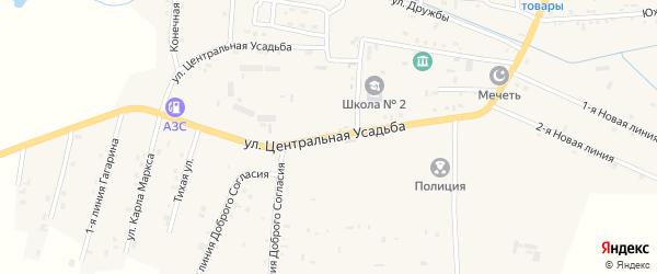 Центральная улица на карте Гвардейского села с номерами домов
