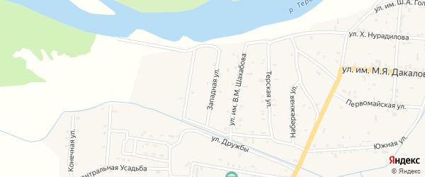 Западная улица на карте Гвардейского села с номерами домов