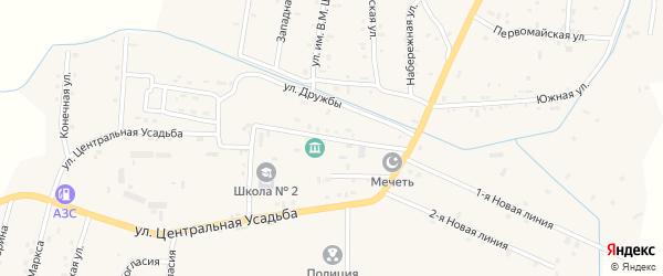 Улица Дружбы на карте Гвардейского села с номерами домов