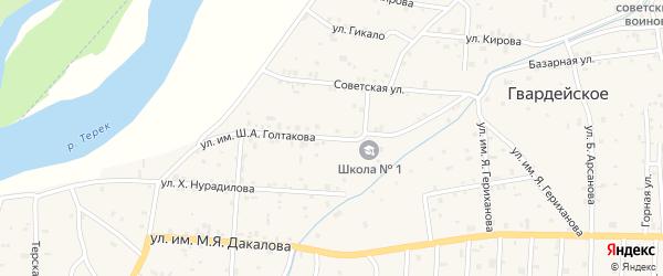 Школьная улица на карте Гвардейского села с номерами домов