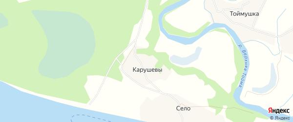 Карта деревни Карушевы в Архангельской области с улицами и номерами домов