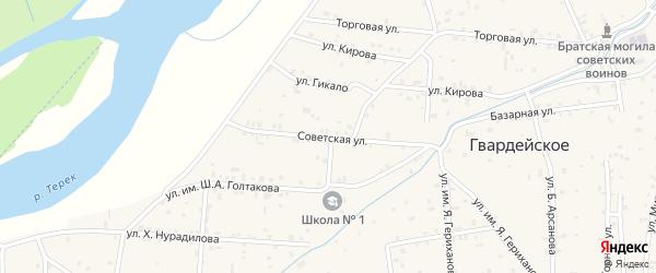 Советская улица на карте Гвардейского села с номерами домов