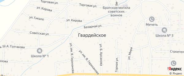Кавказская улица на карте Гвардейского села с номерами домов