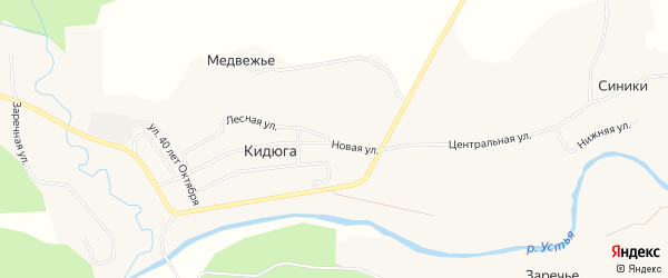 Карта поселка Кидюги в Архангельской области с улицами и номерами домов