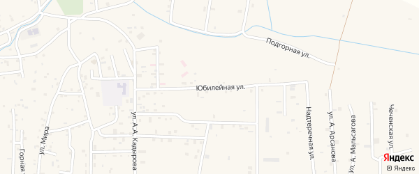 Юбилейная улица на карте Гвардейского села с номерами домов