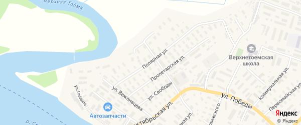 Полярная улица на карте села Верхней Тоймы с номерами домов