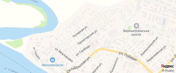 Пролетарская улица на карте села Верхней Тоймы с номерами домов