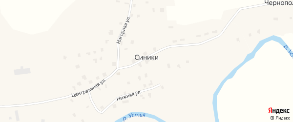 Нагорная улица на карте деревни Синики с номерами домов