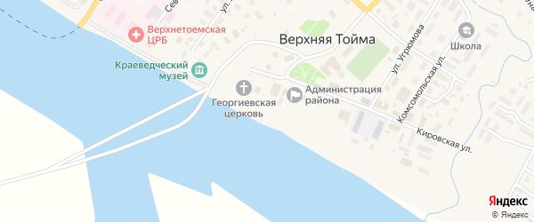 Набережная улица на карте села Верхней Тоймы с номерами домов