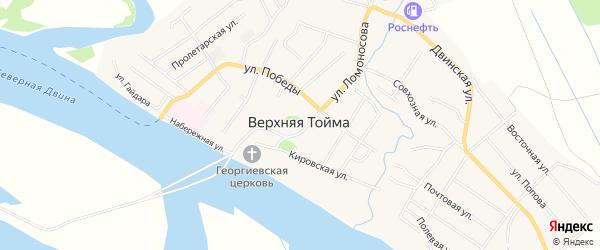 Карта села Верхней Тоймы в Архангельской области с улицами и номерами домов