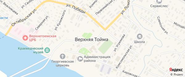 Нагорная улица на карте села Верхней Тоймы с номерами домов