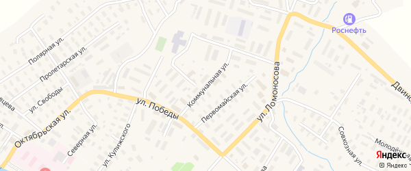 Коммунальная улица на карте села Верхней Тоймы с номерами домов