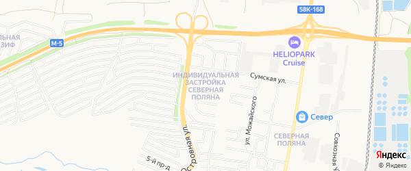 Карта поселка Индивидуальная Застройка Северная Поляна города Пензы в Пензенской области с улицами и номерами домов