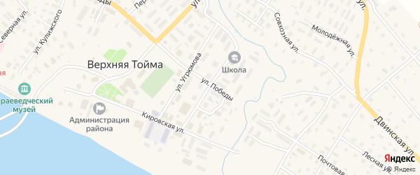 Комсомольская улица на карте села Верхней Тоймы с номерами домов