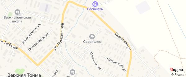 Ручьевская улица на карте села Верхней Тоймы с номерами домов