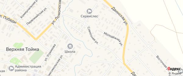 Совхозная улица на карте села Верхней Тоймы с номерами домов
