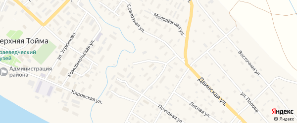 Северодвинская улица на карте села Верхней Тоймы с номерами домов