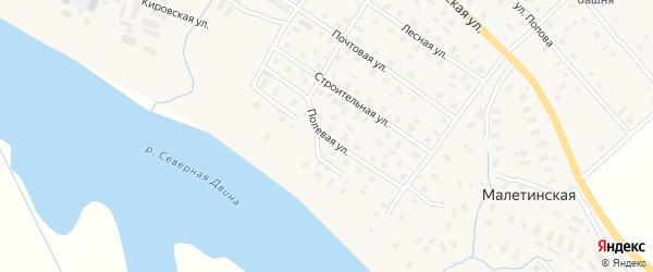 Полевая улица на карте села Верхней Тоймы с номерами домов