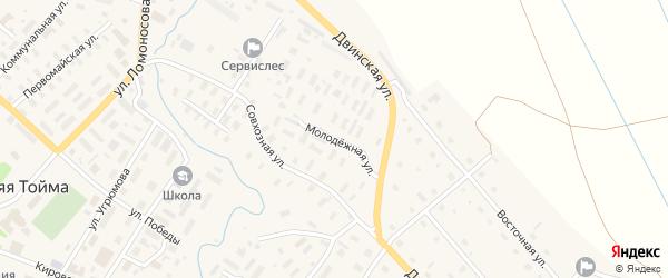 Молодежная улица на карте села Верхней Тоймы с номерами домов