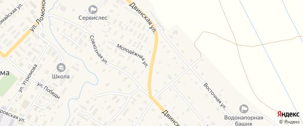 Двинская улица на карте села Верхней Тоймы с номерами домов