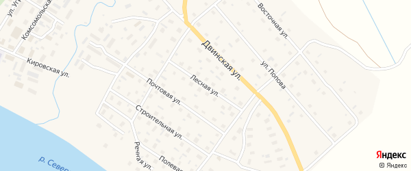 Лесная улица на карте села Верхней Тоймы с номерами домов