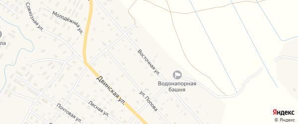 Восточная улица на карте села Верхней Тоймы с номерами домов