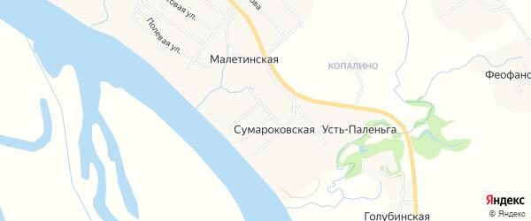 Карта Сумароковской деревни в Архангельской области с улицами и номерами домов