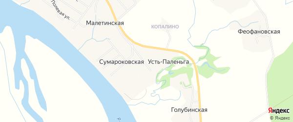 Карта деревни Усть-Паленьги в Архангельской области с улицами и номерами домов
