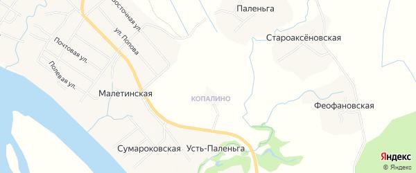 Карта Малетинской деревни в Архангельской области с улицами и номерами домов