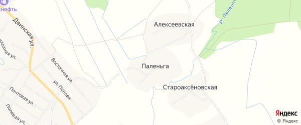 Карта деревни Паленьги в Архангельской области с улицами и номерами домов