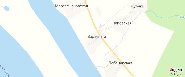Карта деревни Варзеньги в Архангельской области с улицами и номерами домов