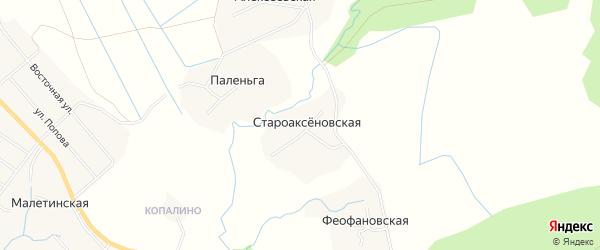 Карта Староаксеновской деревни в Архангельской области с улицами и номерами домов