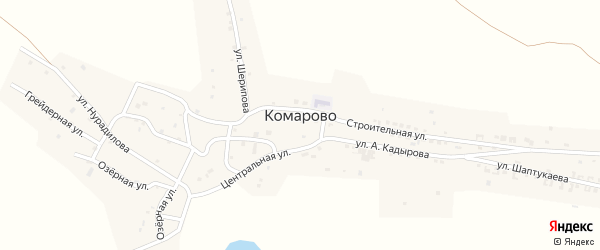 Центральная улица на карте села Комарово с номерами домов