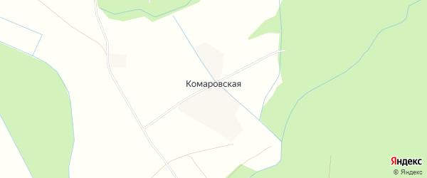 Карта Комаровской деревни в Архангельской области с улицами и номерами домов